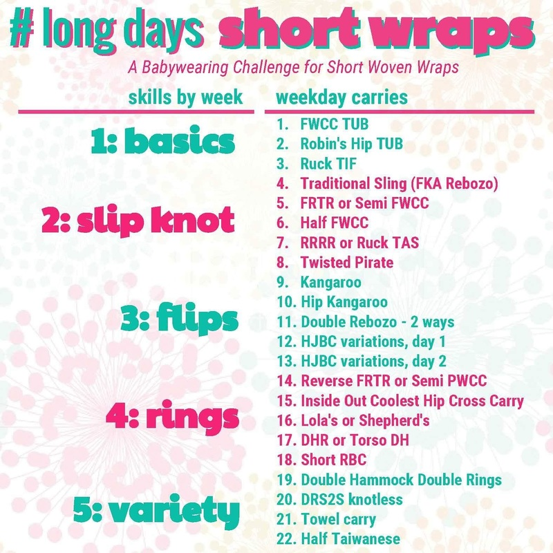 Graphic of carries for the long days short wraps challenge