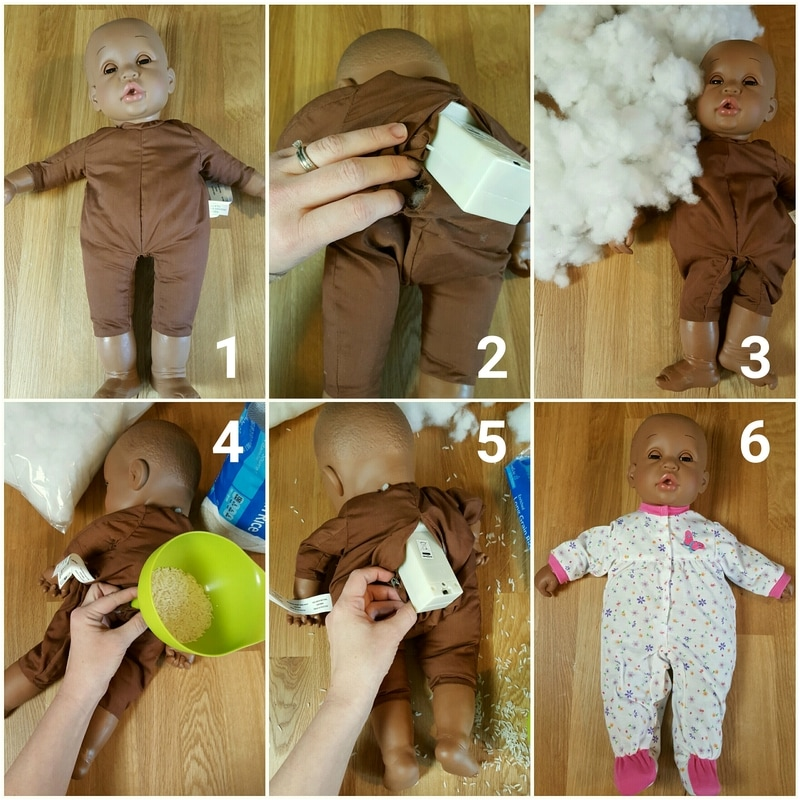 A step-by-step guide on how to make a demo doll for babywearing from a toy store doll [Image is a graphic with text. A collage of photos on the image show six steps to transforming a toy store doll into a weighted doll. Text on the image has labeled each photo 1 through 6.]