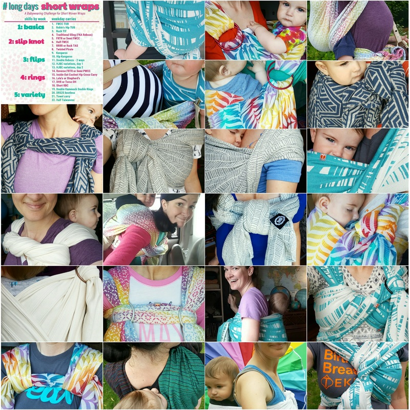Collage of 22 images of Amy wearing her baby in a variety of woven wrap carries. The collage also includes the carry list for the long days short wraps challenge.