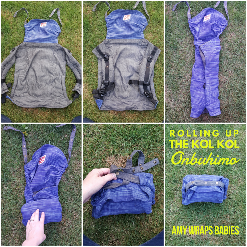 How to roll up a Kol Kol onbuhimo for storage [Image is a collage of 6 images of a blue onbuhimo carrier spread out on grass and being rolled up. The carrier starts with shoulder straps out, then folds the straps in until the carrier is narrow. The carrier is rolled from the bottom of the panel up to the hood, then the hood straps are snapped together to keep the carrier from unrolling.]