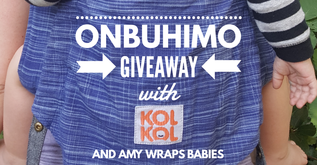 Win a FREE onbuhimo from Kol Kol Baby Carriers - with free worldwide shipping! An onbuhimo is a waistless buckle carrier for babies with full torso control. [Image of the back of a blue wrap conversion onbuhimo carrier worn by a white woman and white toddler. Text over the image reads quote, onbuhimo giveaway with Kol Kol and Amy Wraps Babies, end quote.]