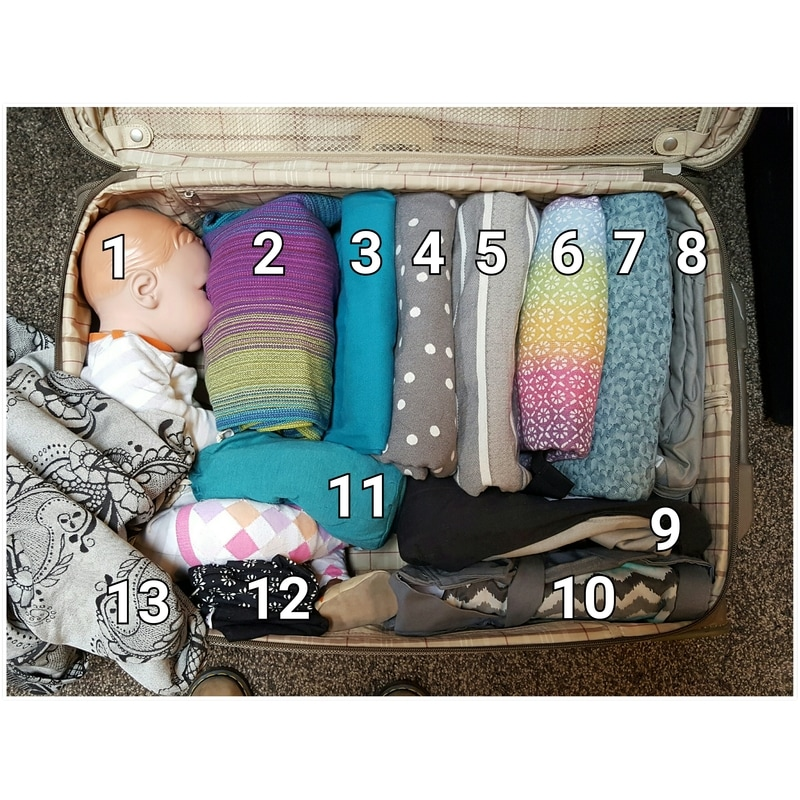So many baby carriers! Here's a list of what carriers I took to my latest appointment and why [Image is a photo with text overlaid. The photo is a look down into an open suitcase that is filled with folded baby carriers. The text numbers each baby carrier from one to thirteen.]